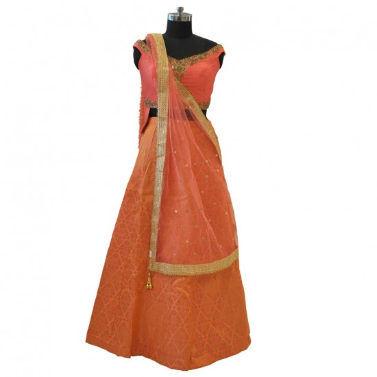Coral With Embroidery Lehenga