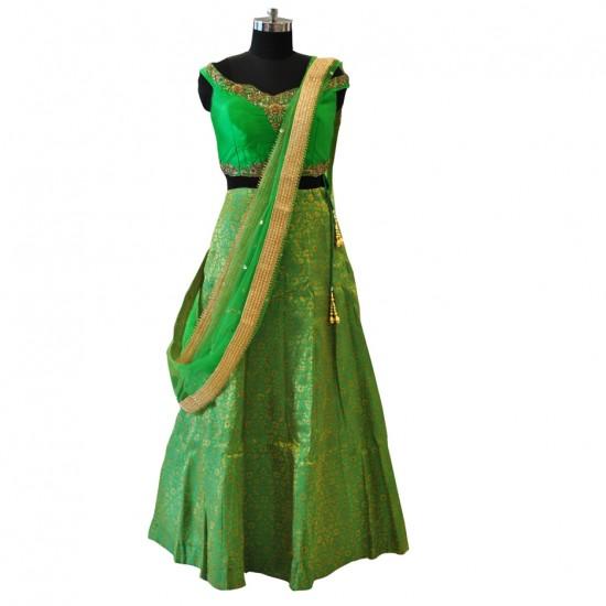 Light Green With Embroidery Lehenga