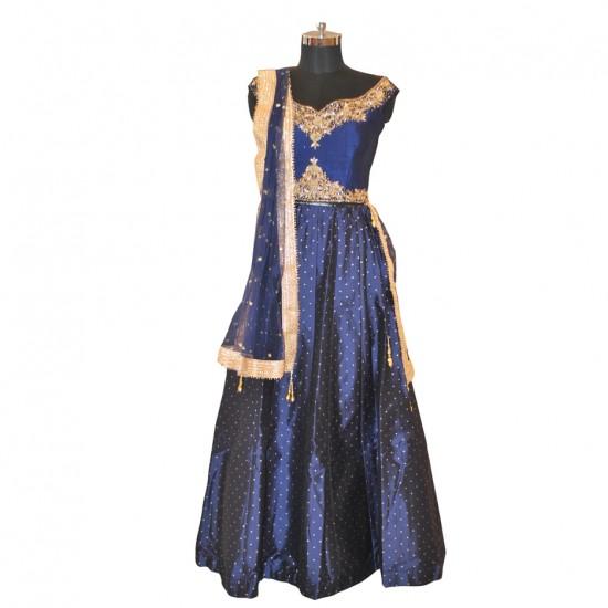 Blue With Embroidery Lehenga