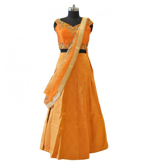 Orange With Embroidery Lehenga