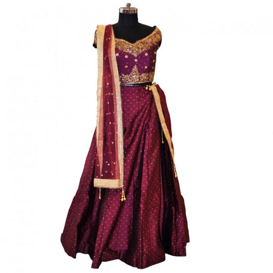 Purple With Embroidery Lehenga