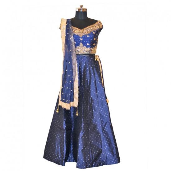 Royal Blue With Embroidery Lehenga