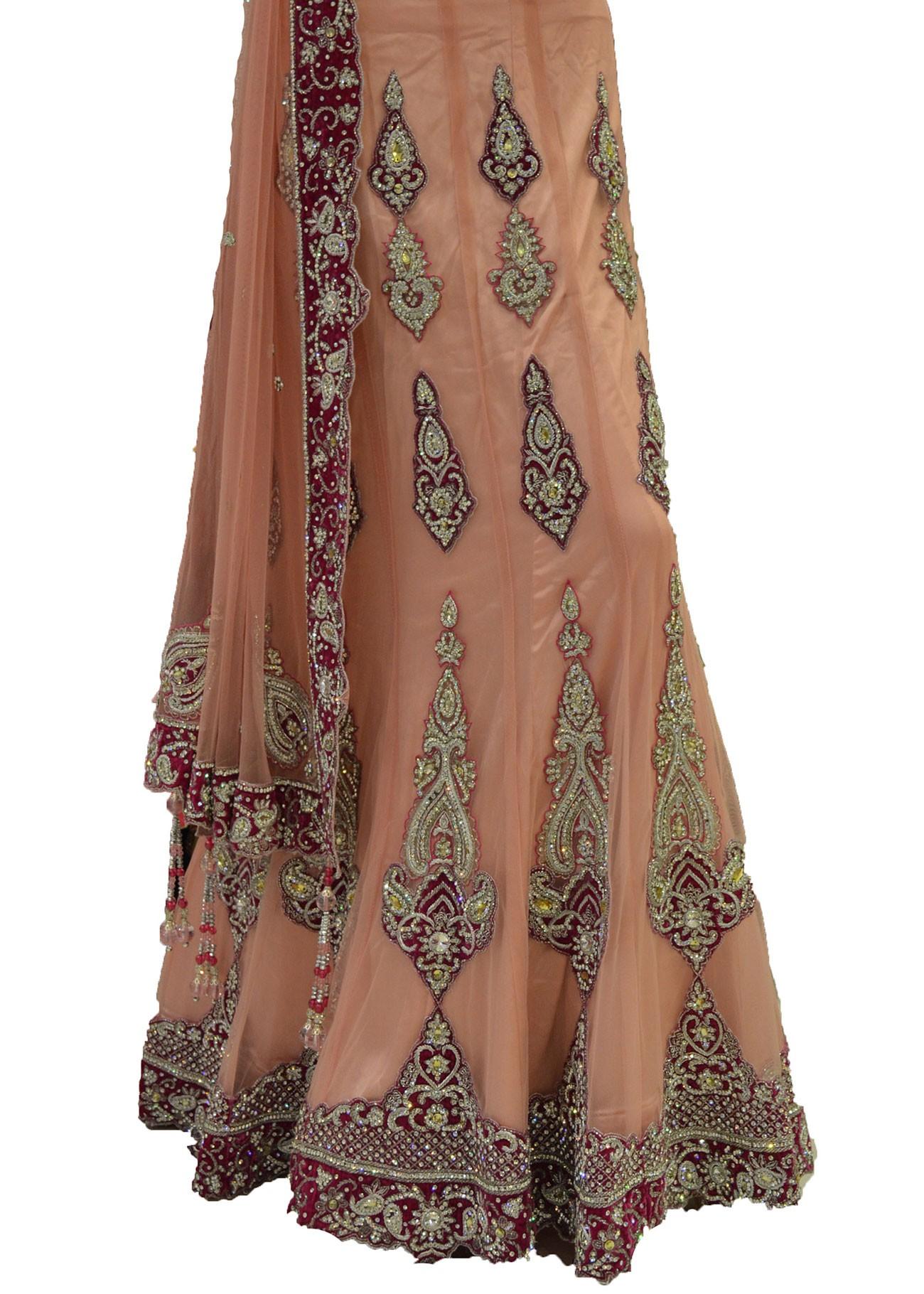 Pink Net Saree: Light Pink Net Lehenga Choli With Dupatta