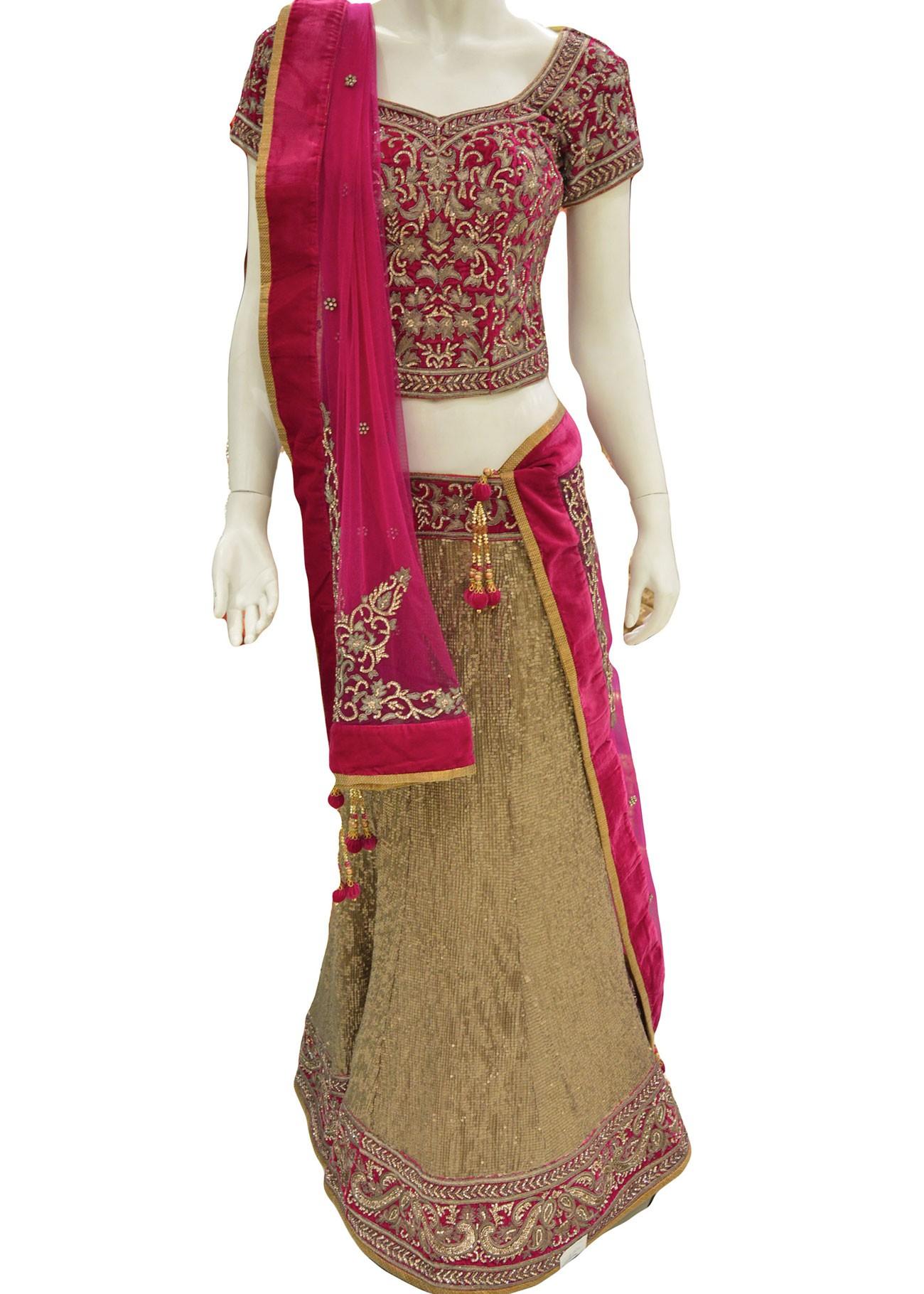 Pink Velvet Blouse With Golden Skirt Lehenga