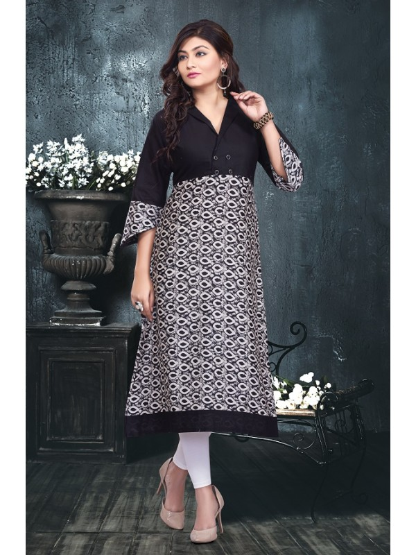 c8ce2f14ee6 Cotton Printed Kurti with asymmetrical sleeves in Black