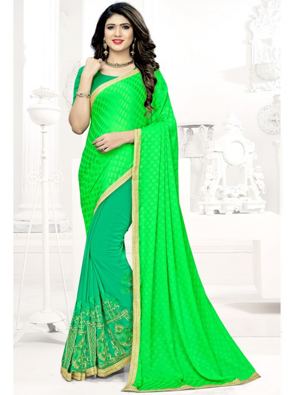 c166affb2 Green Embroidered Georgette Saree